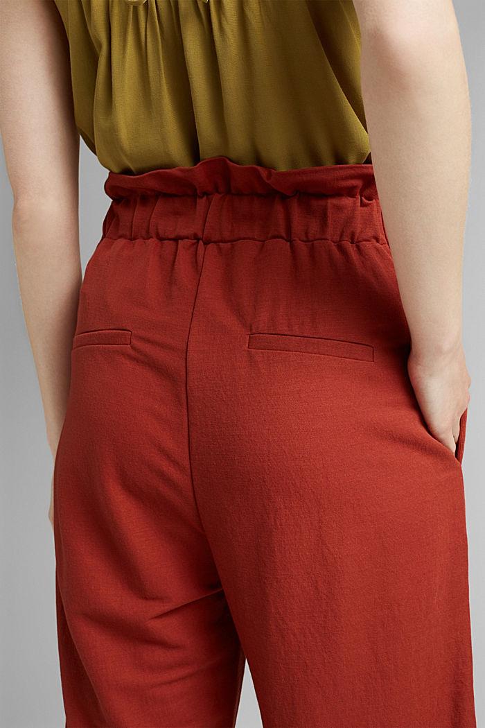 Piqué broek van LENZING™ ECOVERO™, TERRACOTTA, detail image number 5