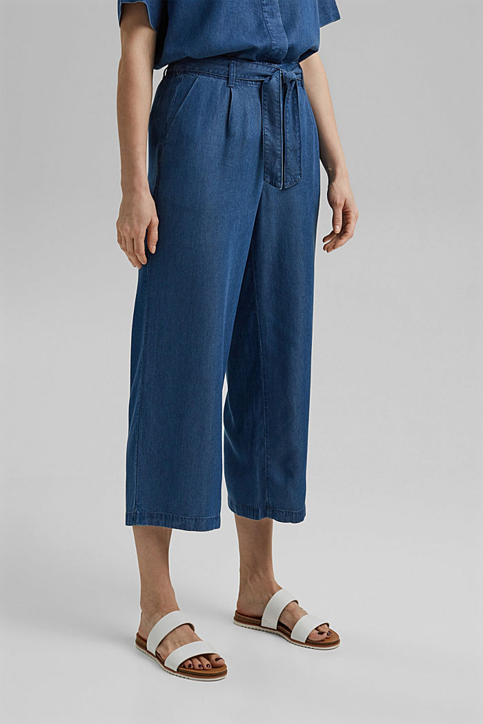 Made of TENCEL™: culottes in a denim look, BLUE MEDIUM WASHED, detail image number 0