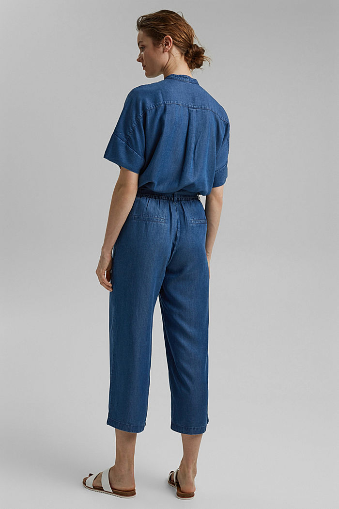 Made of TENCEL™: culottes in a denim look, BLUE MEDIUM WASHED, detail image number 3