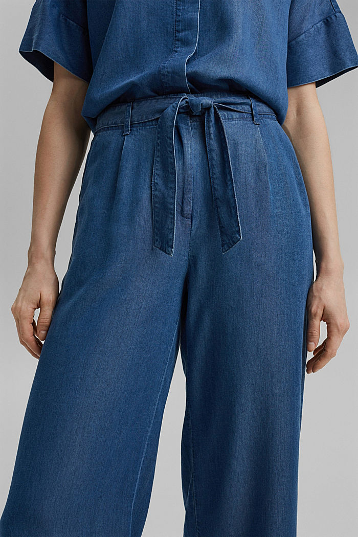 Made of TENCEL™: culottes in a denim look, BLUE MEDIUM WASHED, detail image number 2