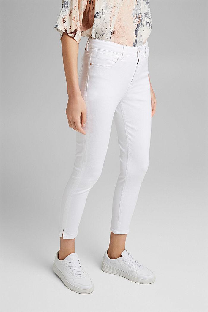 Strečové džíny s rozparky, bio bavlna, WHITE, detail image number 0