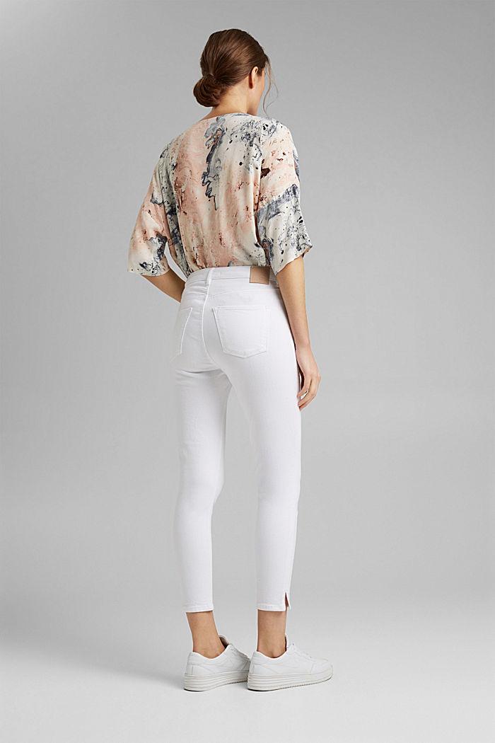 Strečové džíny s rozparky, bio bavlna, WHITE, detail image number 3