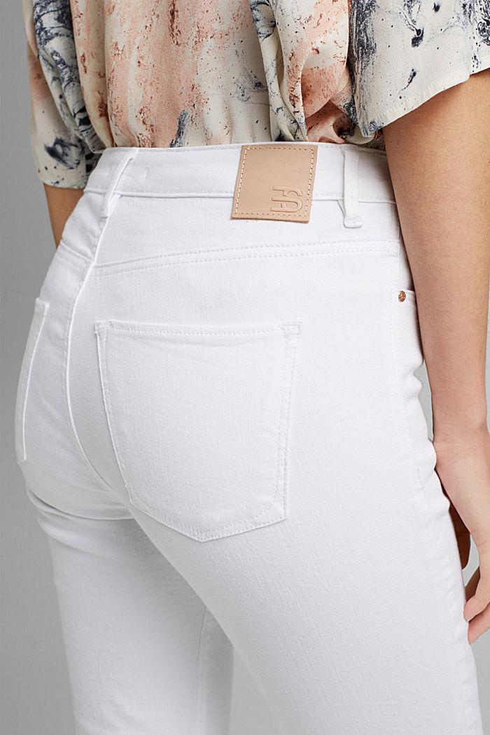 Strečové džíny s rozparky, bio bavlna, WHITE, detail image number 5