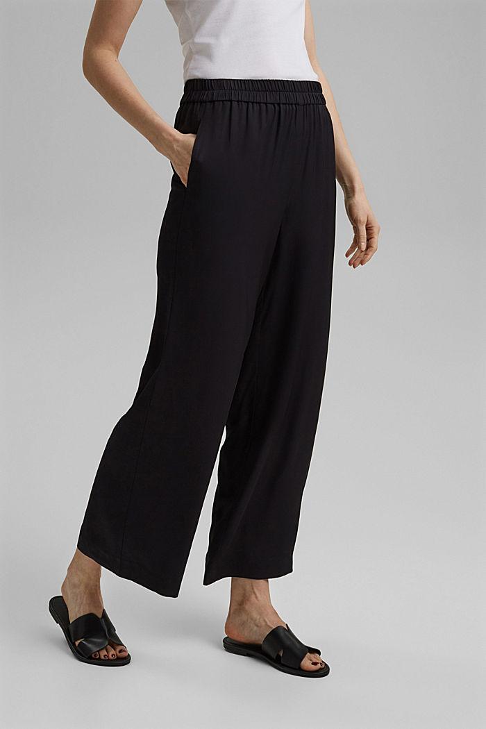 Weite Hose mit elastischem Bund, BLACK, detail image number 0