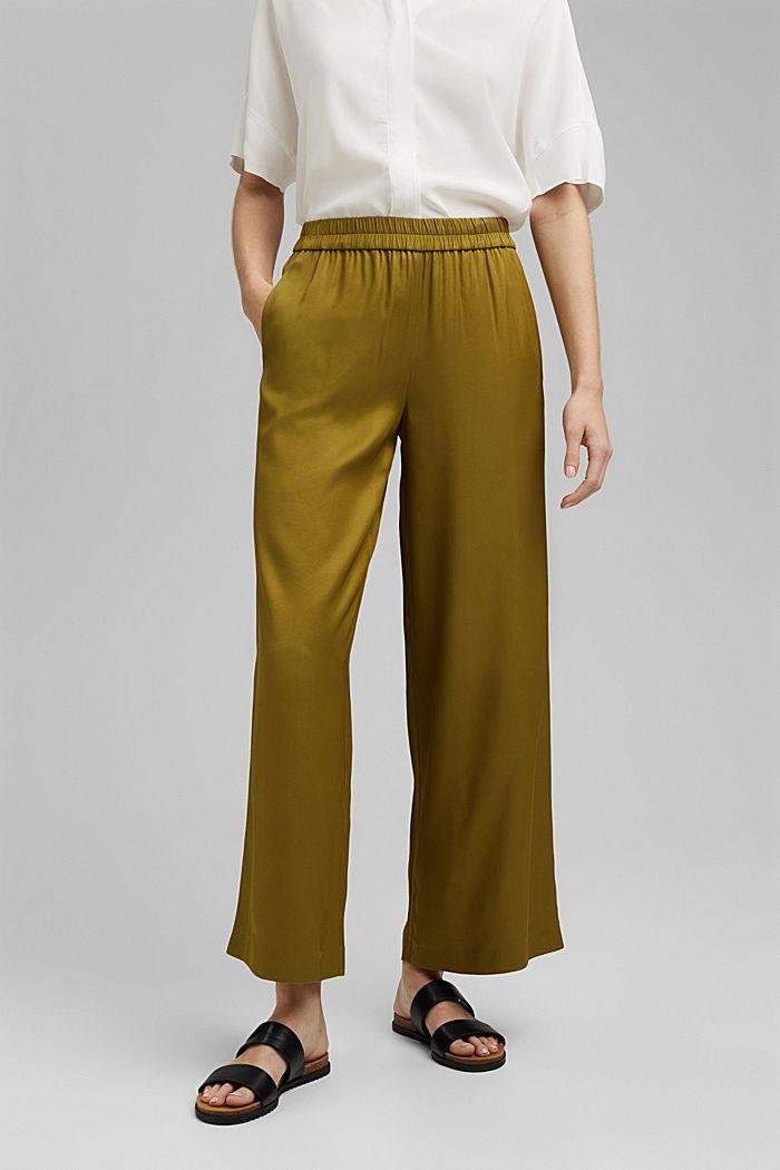 Weite Hose mit elastischem Bund, OLIVE, detail image number 0