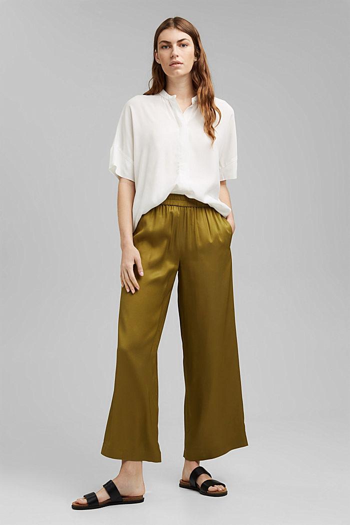 Weite Hose mit elastischem Bund, OLIVE, detail image number 1
