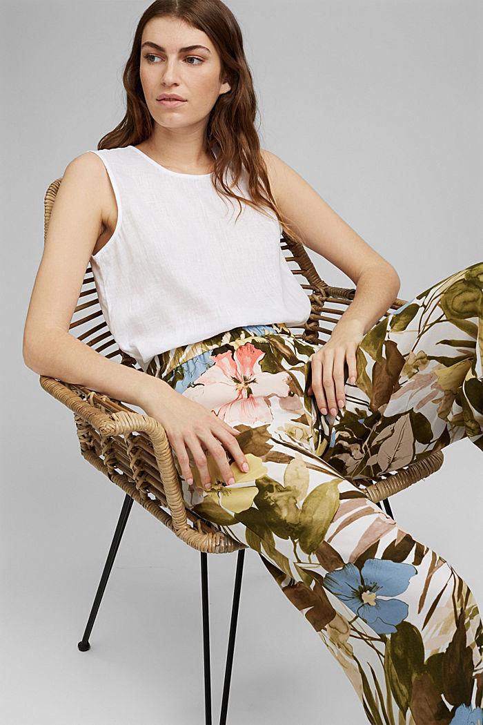 Leveälahkeiset housut, joissa kuminauhavyötärö, OLIVE, detail image number 6