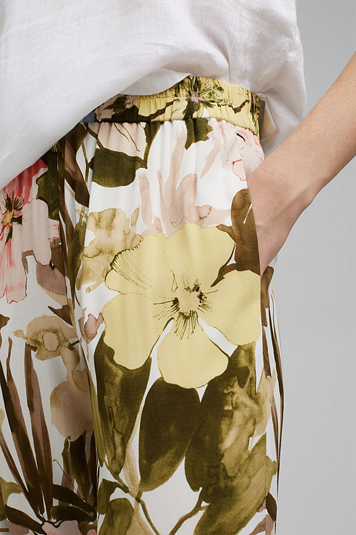 Leveälahkeiset housut, joissa kuminauhavyötärö, OLIVE, detail image number 2