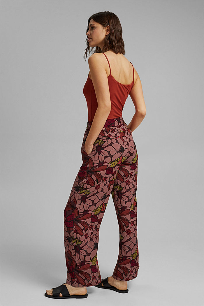 Trousers with an elasticated waistband and a wide leg, TERRACOTTA, detail image number 3