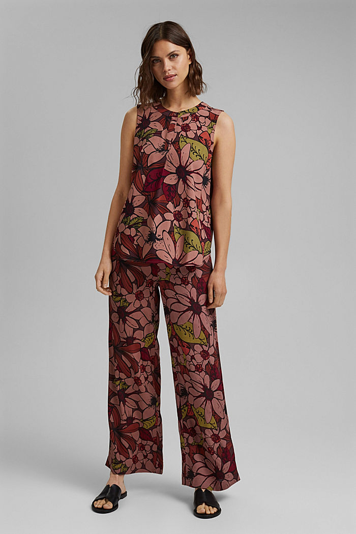 Trousers with an elasticated waistband and a wide leg, TERRACOTTA, detail image number 1