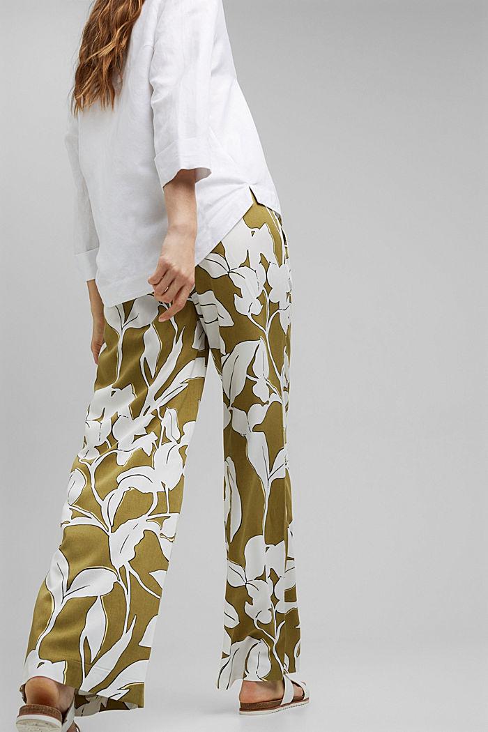 Hose mit weitem Bein, LENZING™ ECOVERO™, OLIVE, detail image number 3