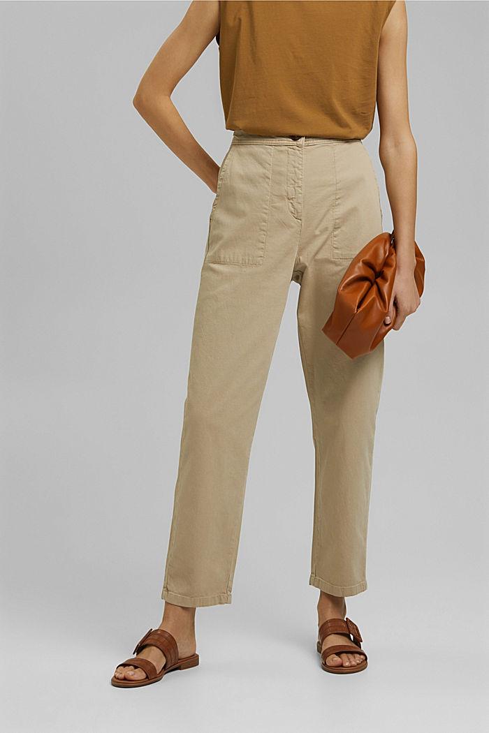 Gestructureerde katoenen broek met hoge taille, SAND, detail image number 0