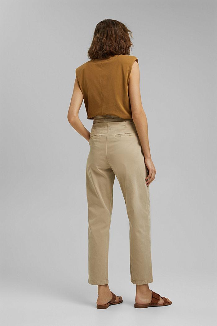 Gestructureerde katoenen broek met hoge taille, SAND, detail image number 3