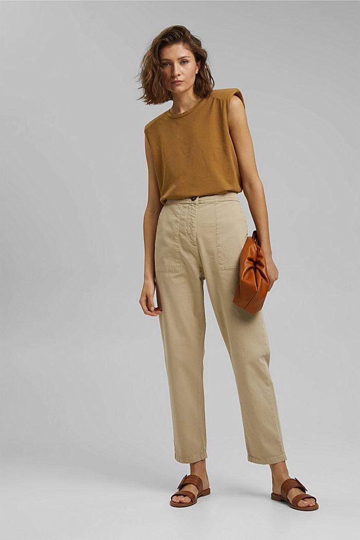 Strukturierte Highwaist-Hose aus Baumwolle