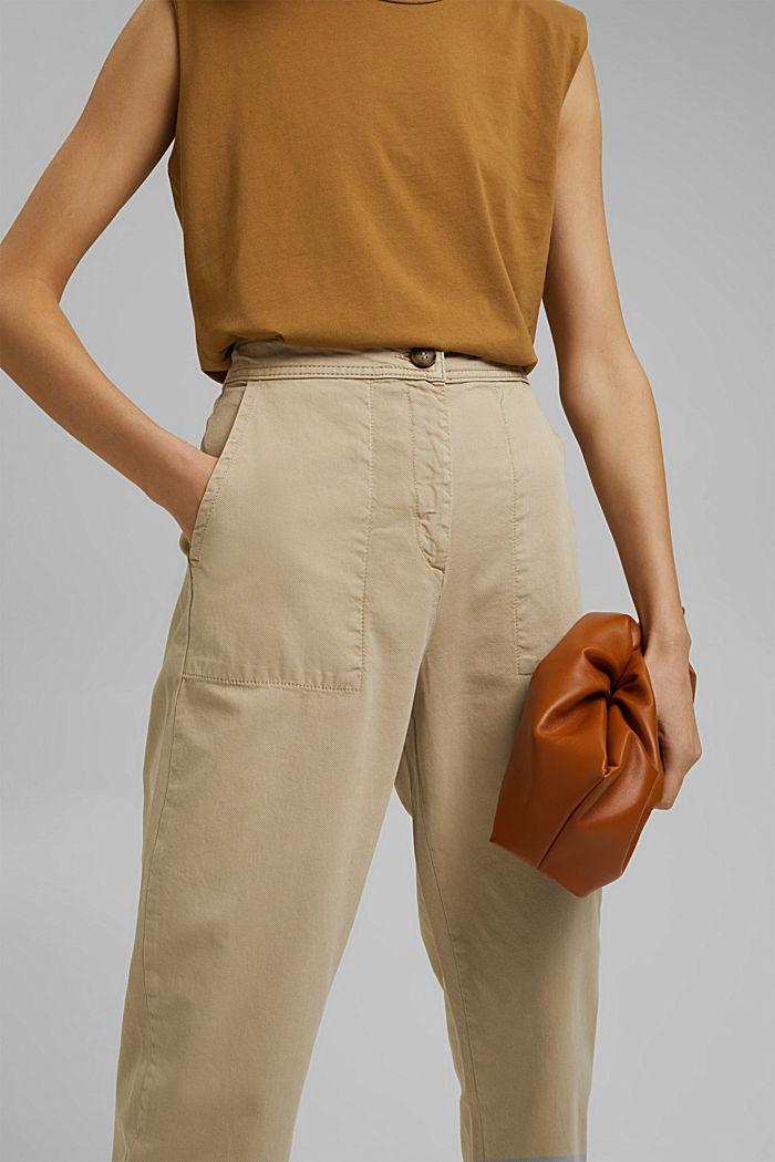 Gestructureerde katoenen broek met hoge taille, SAND, detail image number 2
