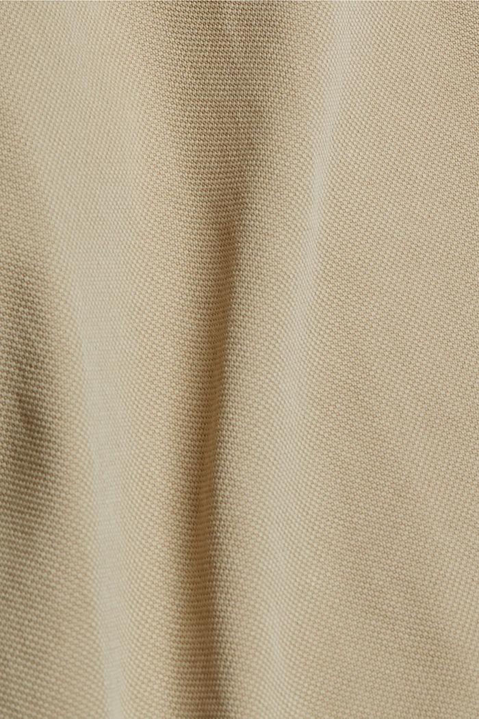 Gestructureerde katoenen broek met hoge taille, SAND, detail image number 4