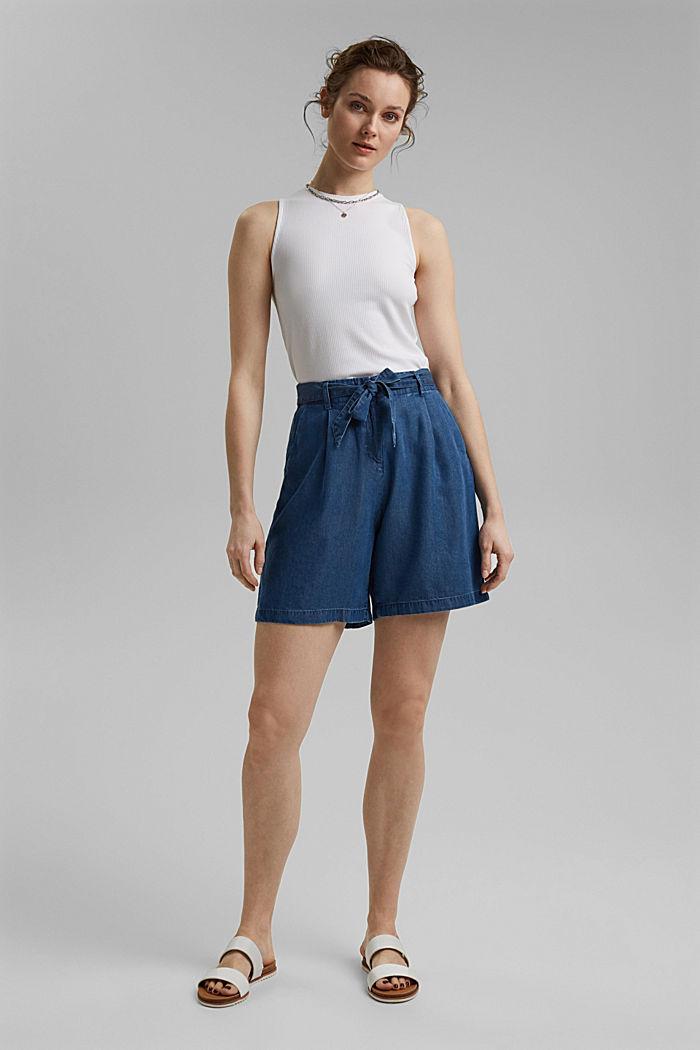 Aus TENCEL™:  Shorts im Denim-Look, BLUE MEDIUM WASHED, detail image number 1