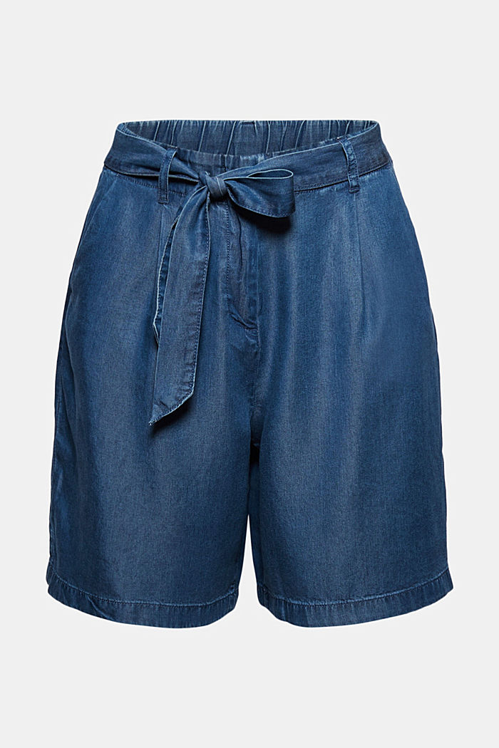 Aus TENCEL™:  Shorts im Denim-Look