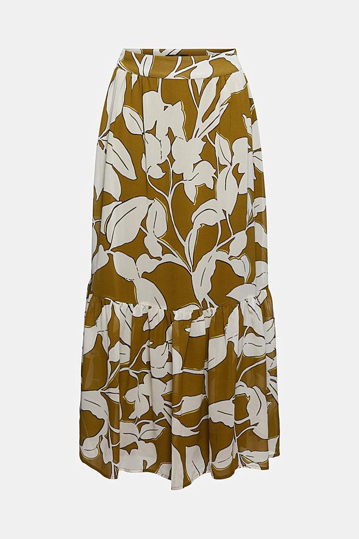 Maxi skirt with a botanical print and a flounce