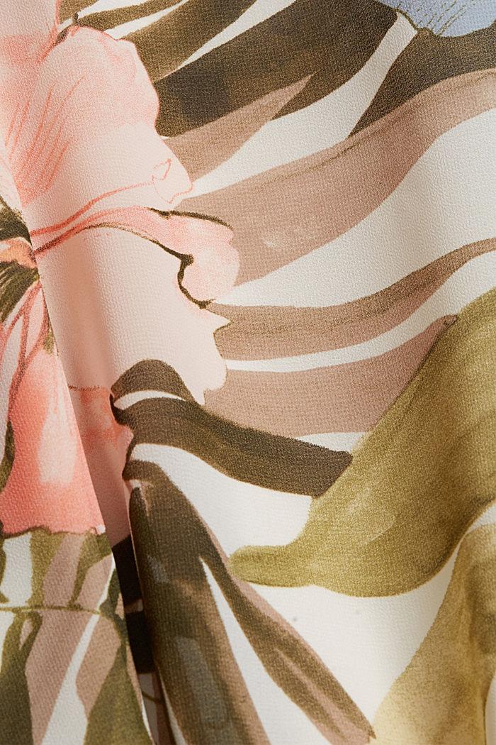 Recycelt: Maxirock mit Botanik-Print, OLIVE, detail image number 4