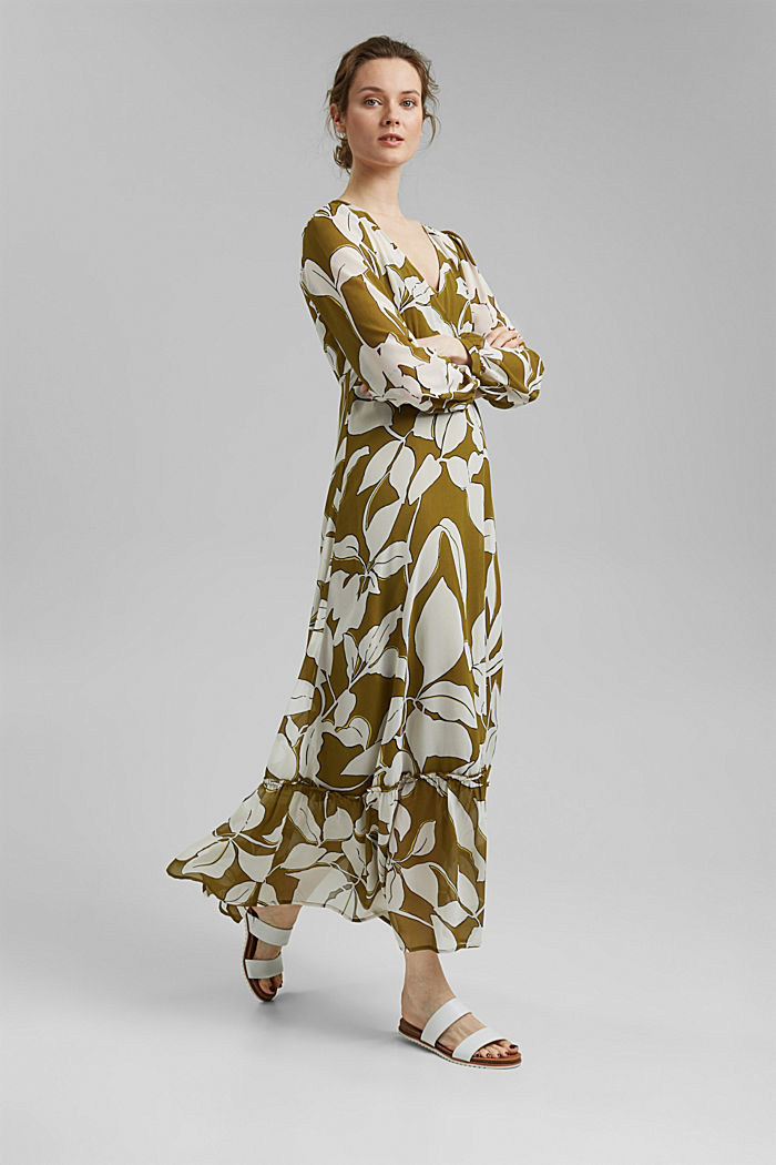 Recycled: maxi dress with print and flounces