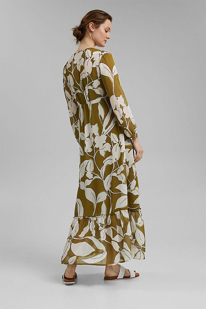 Gerecycled: maxi-jurk met print en volants, OLIVE, detail image number 2