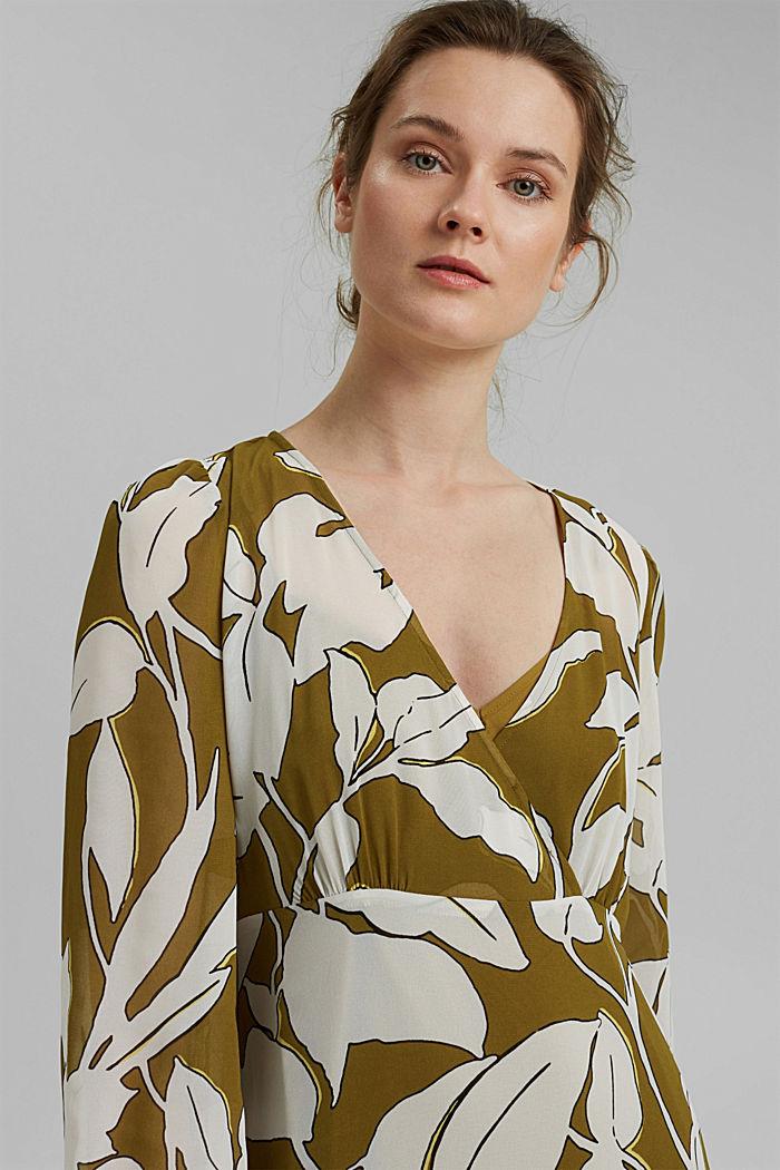 Gerecycled: maxi-jurk met print en volants, OLIVE, detail image number 5