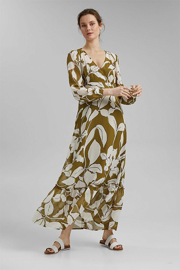 Gerecycled: maxi-jurk met print en volants, OLIVE, detail image number 1