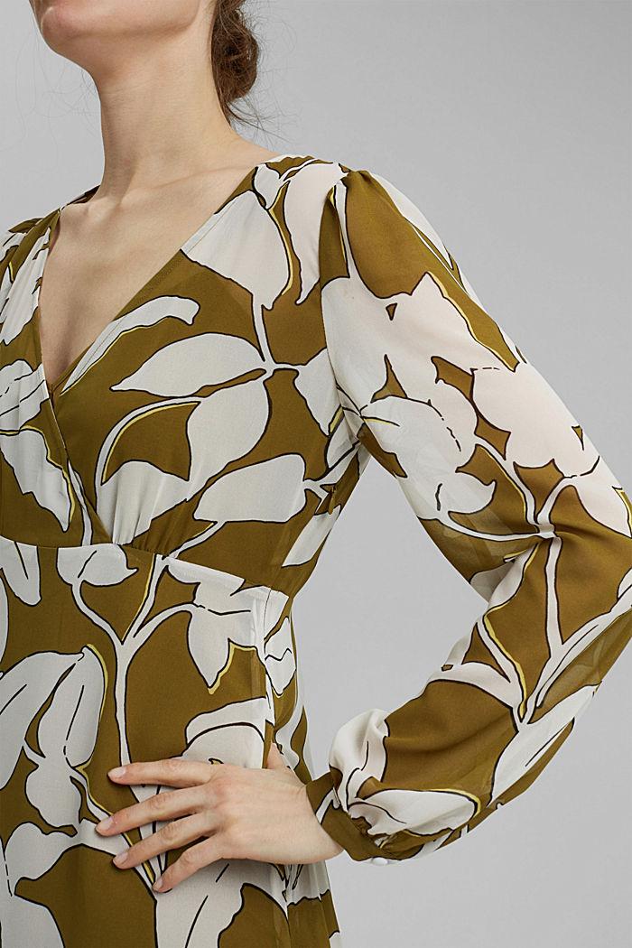 Gerecycled: maxi-jurk met print en volants, OLIVE, detail image number 3