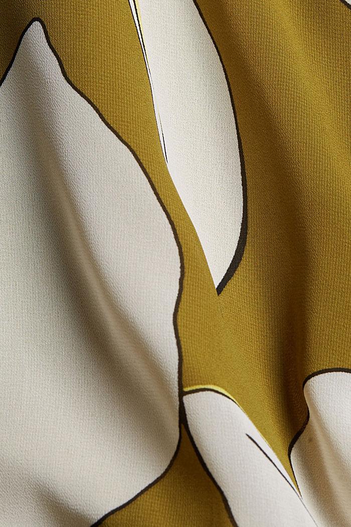 Gerecycled: maxi-jurk met print en volants, OLIVE, detail image number 4