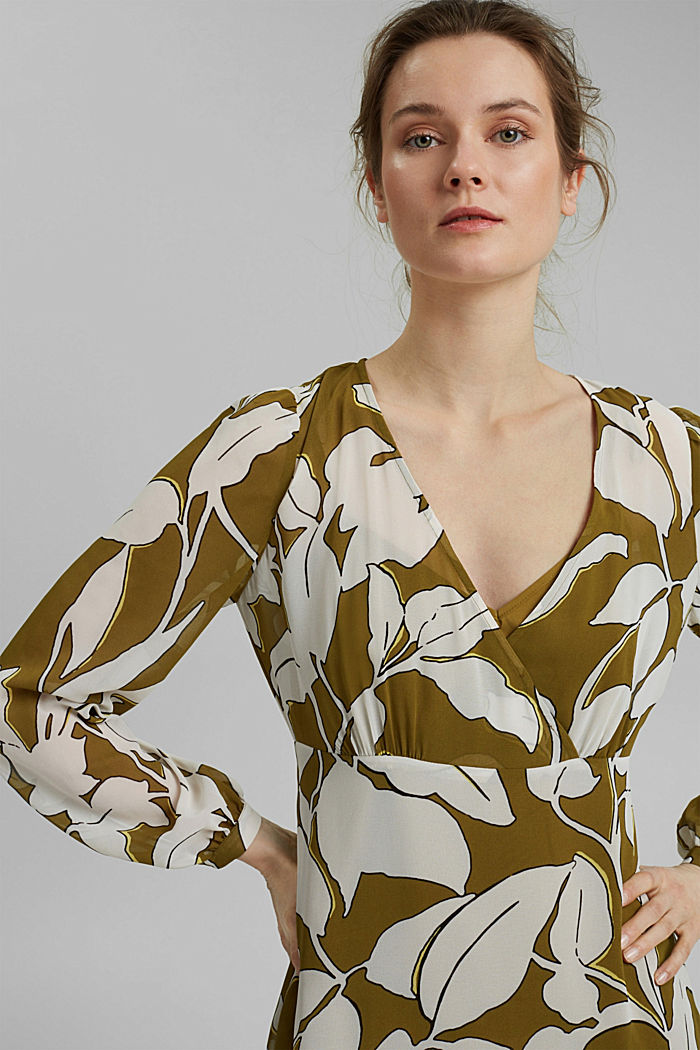 Gerecycled: maxi-jurk met print en volants, OLIVE, detail image number 6