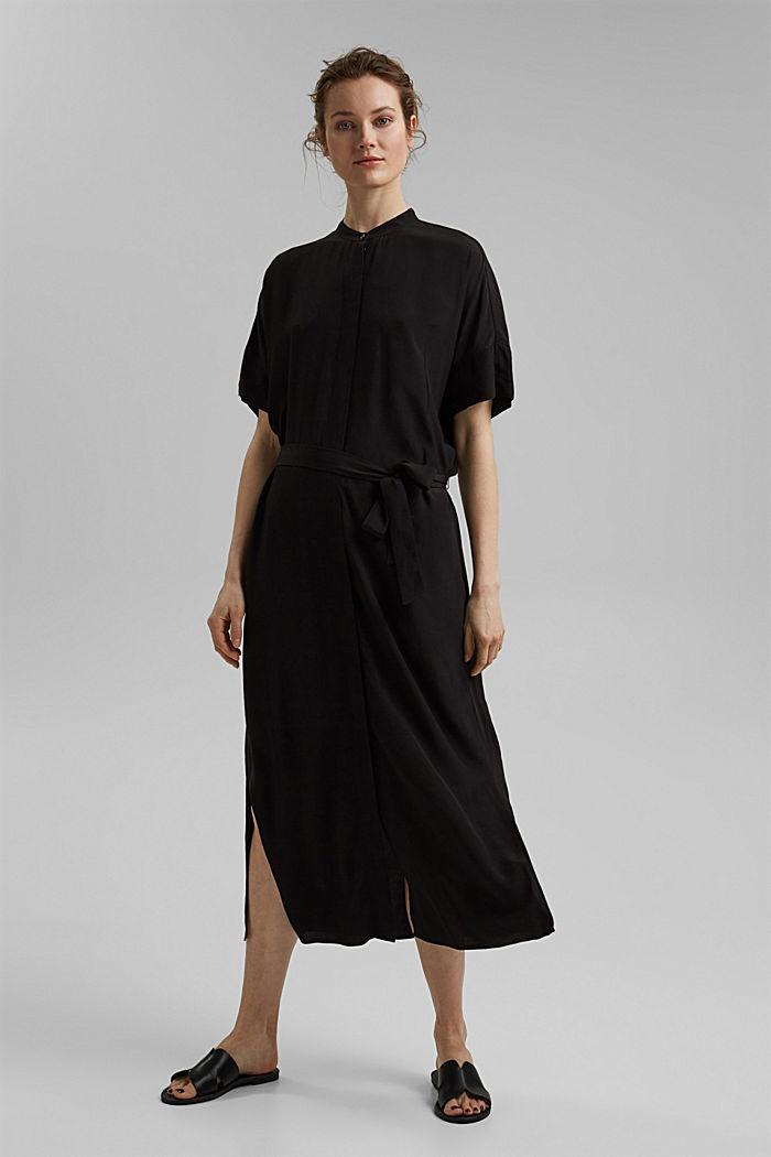 Maxi-Blusenkleid mit LENZING™ ECOVERO™, BLACK, detail image number 0