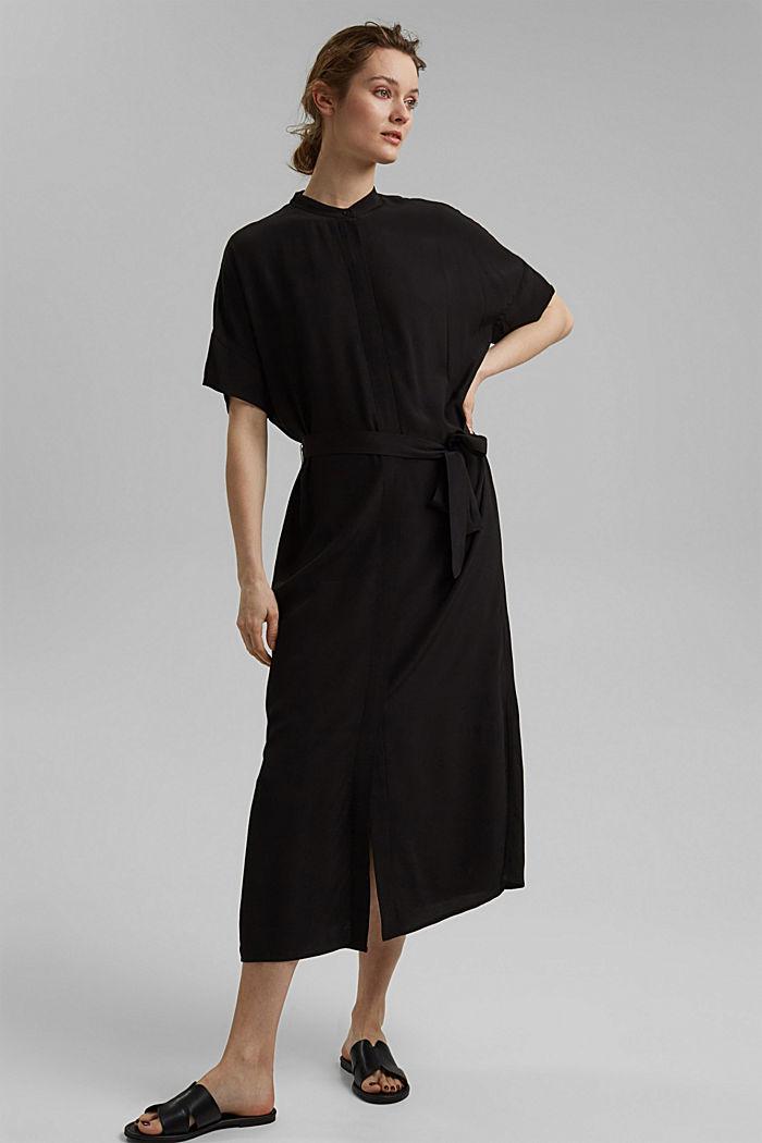 Maxi-Blusenkleid mit LENZING™ ECOVERO™, BLACK, detail image number 1