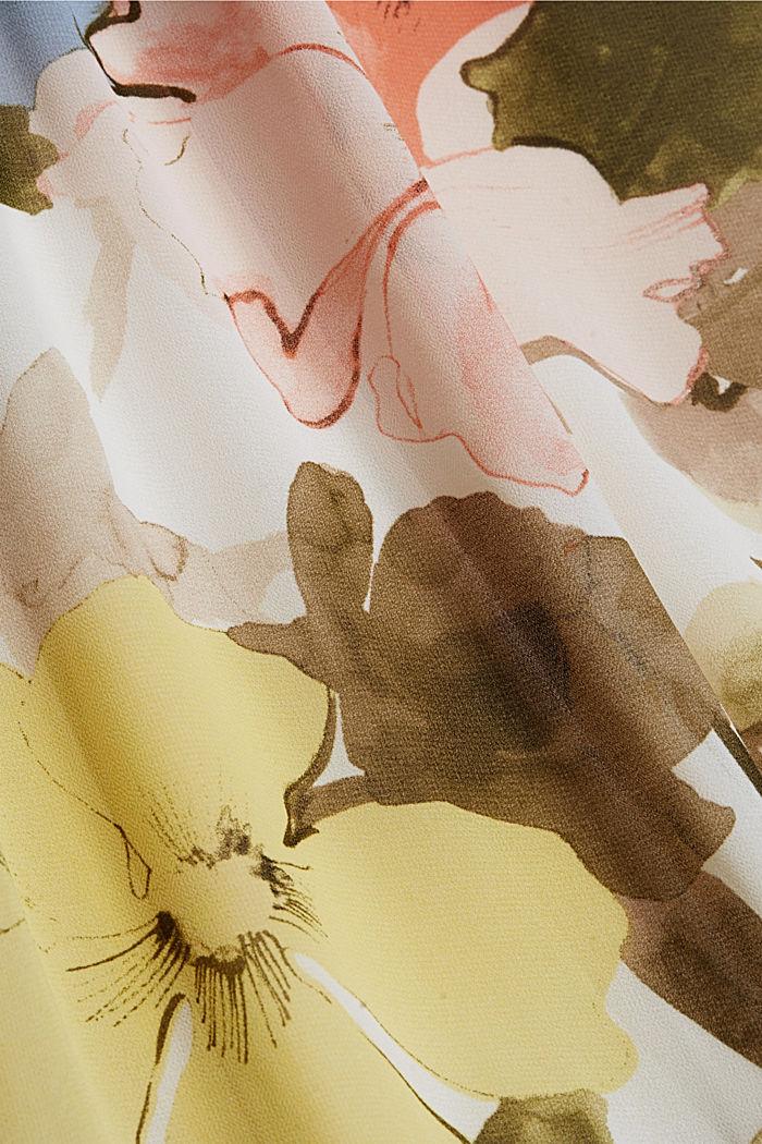 Chiffon-Maxikleid mit Blumen-Print, OLIVE, detail image number 4