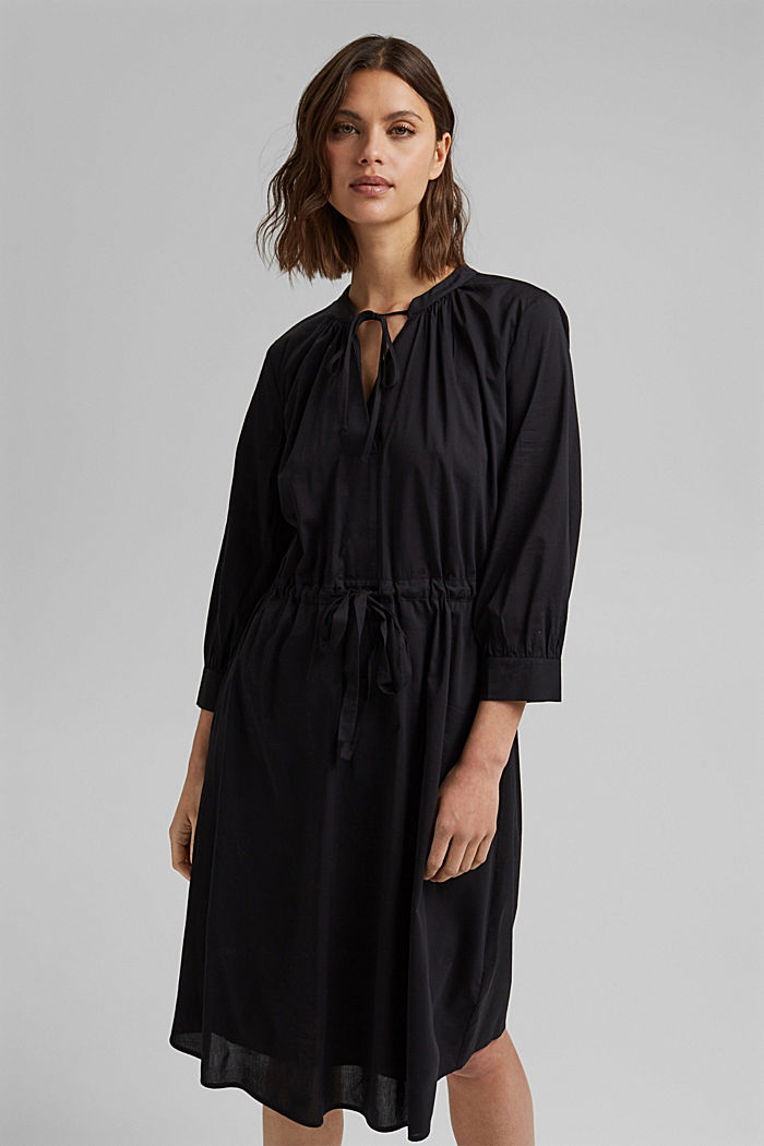 Splývavé tkané šaty s vlákny LENZING™ ECOVERO™, BLACK, detail image number 0