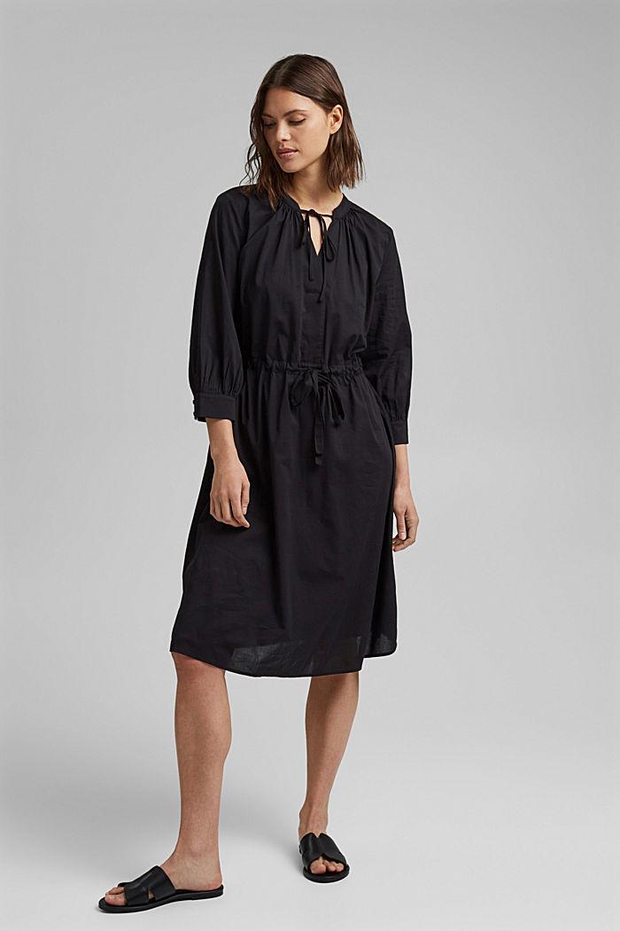 Splývavé tkané šaty s vlákny LENZING™ ECOVERO™, BLACK, detail image number 1