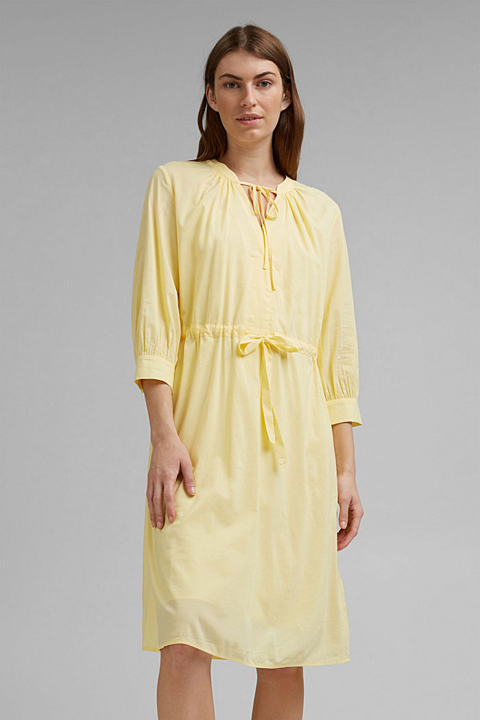Flowing woven dress with LENZING™ ECOVERO™, LIGHT YELLOW, detail image number 0