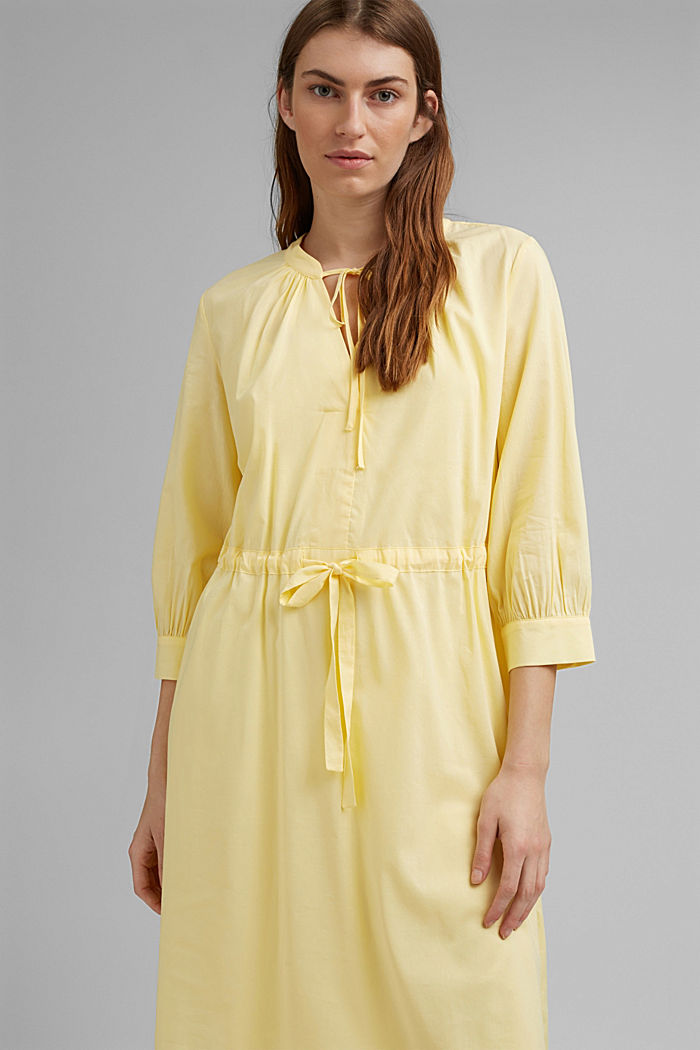 Flowing woven dress with LENZING™ ECOVERO™, LIGHT YELLOW, detail image number 5
