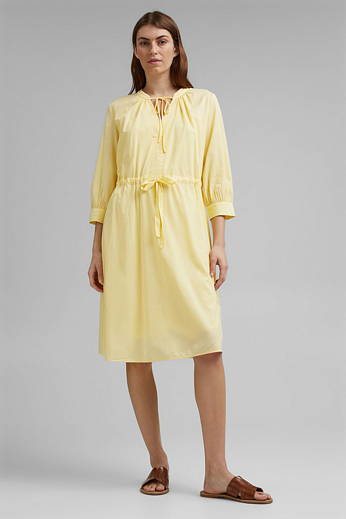 Flowing woven dress with LENZING™ ECOVERO™, LIGHT YELLOW, detail image number 1