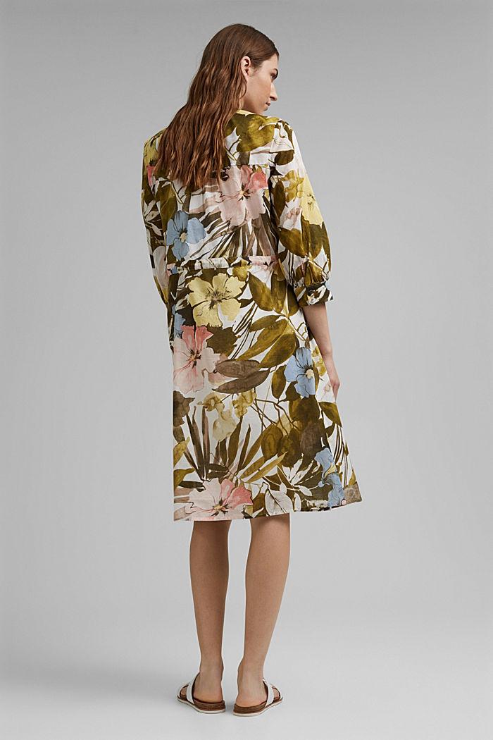 Kleid mit Flower-Print aus Baumwolle, OLIVE, detail image number 2