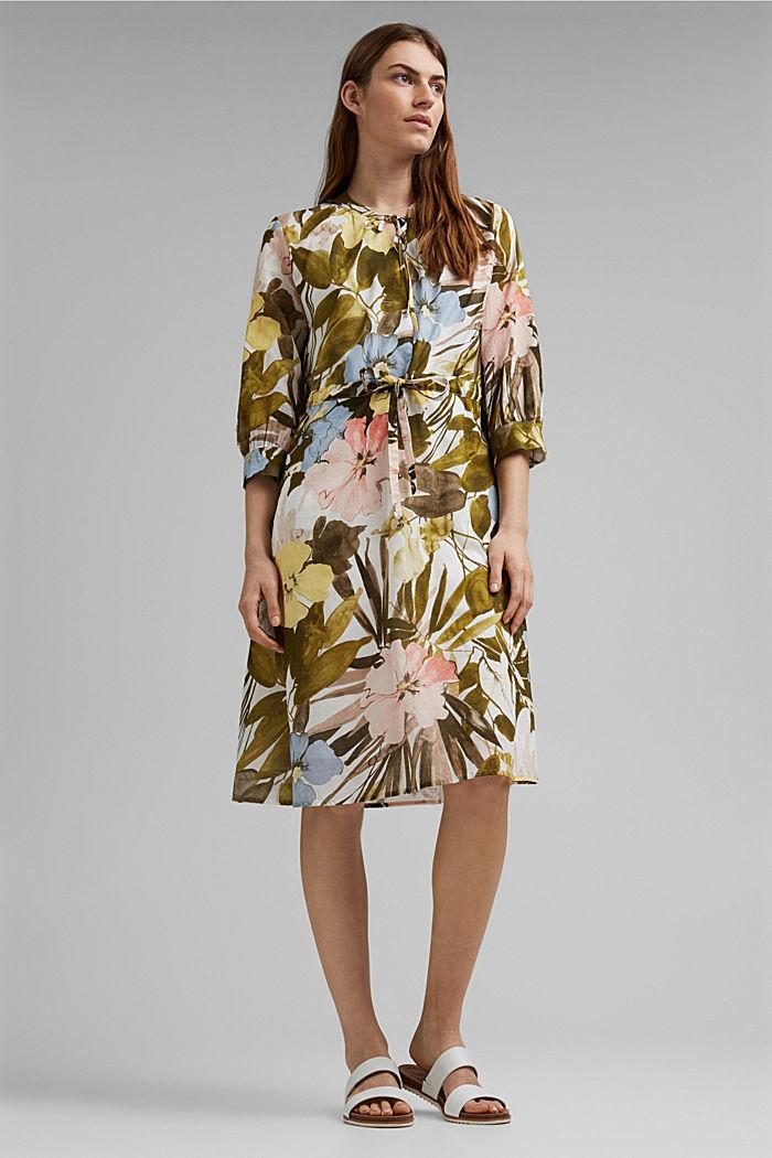 Kleid mit Flower-Print aus Baumwolle, OLIVE, detail image number 1