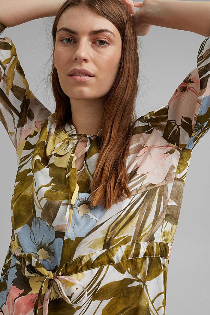 Kleid mit Flower-Print aus Baumwolle, OLIVE, detail image number 5