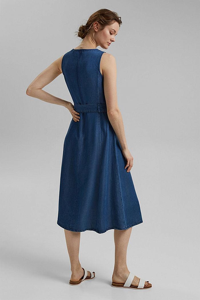 Aus TENCEL™: Kleid in Denim-Optik mit Gürtel, BLUE MEDIUM WASHED, detail image number 2