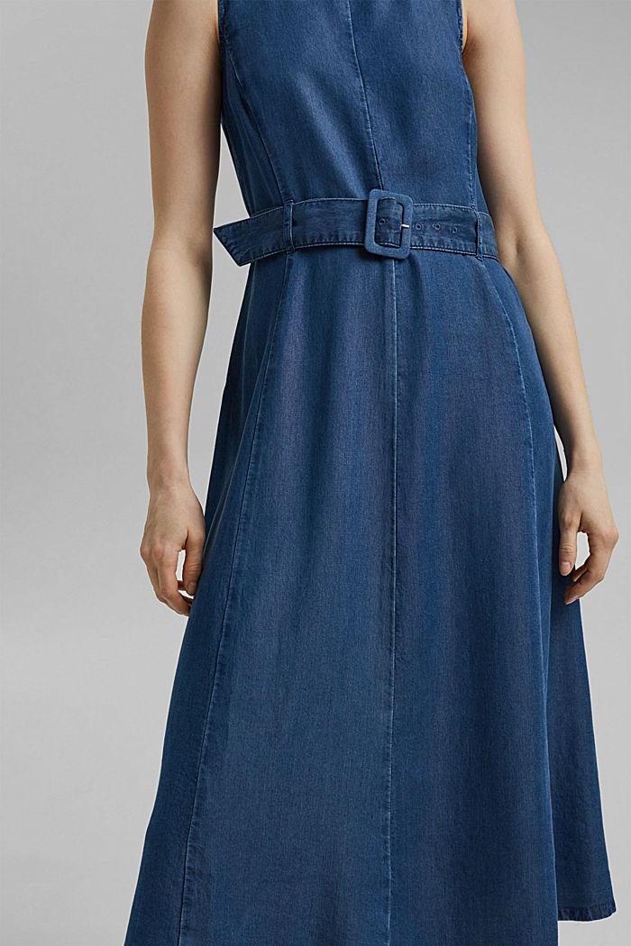 Aus TENCEL™: Kleid in Denim-Optik mit Gürtel, BLUE MEDIUM WASHED, detail image number 3