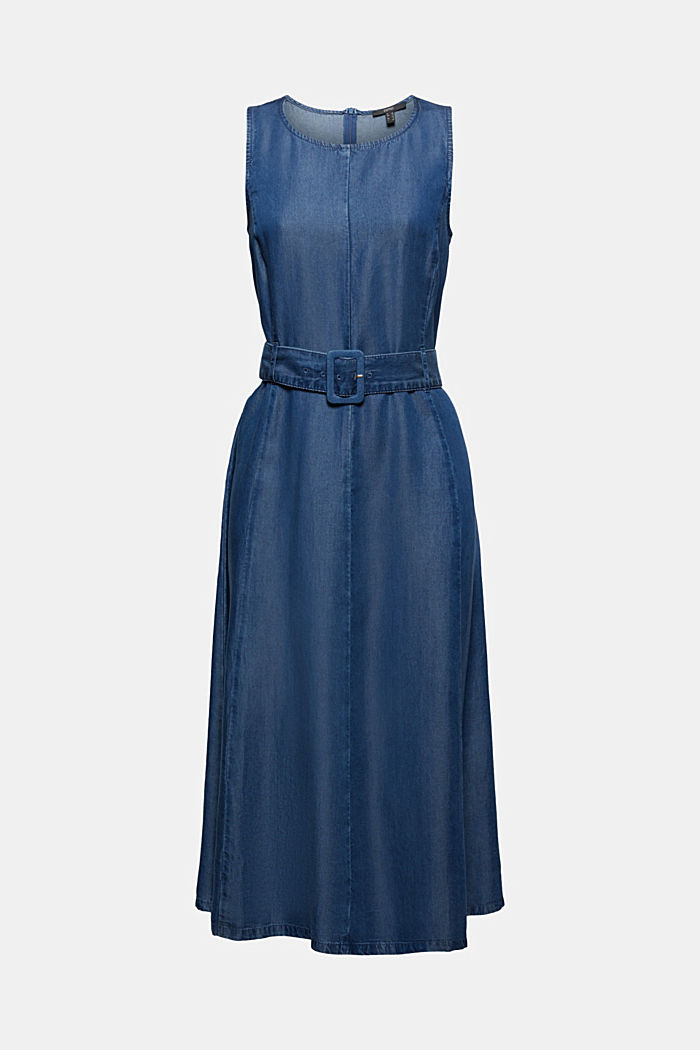 Made of TENCEL™: Dress in a denim look with a belt