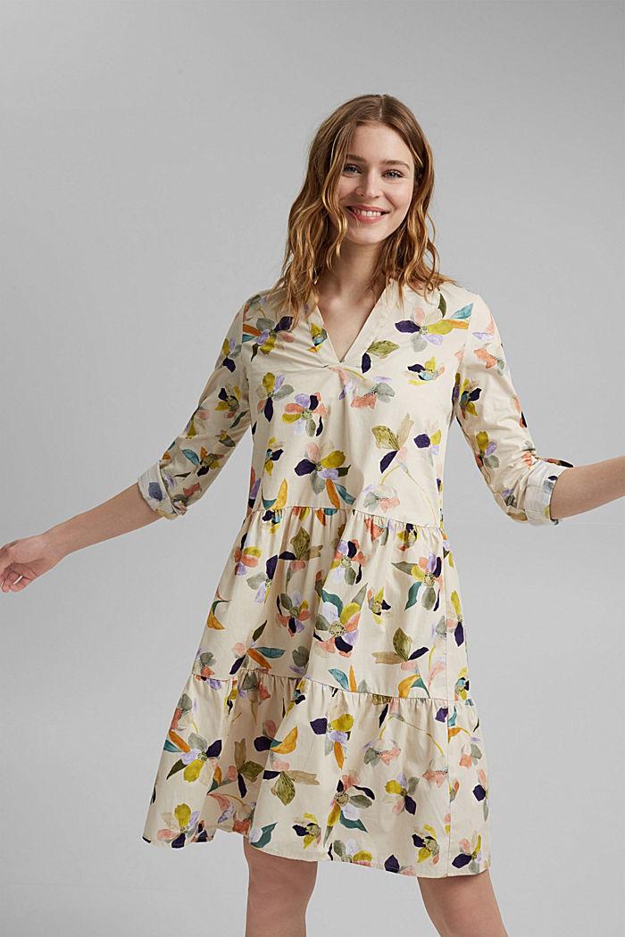 Vestido de popelina con estampado de flores