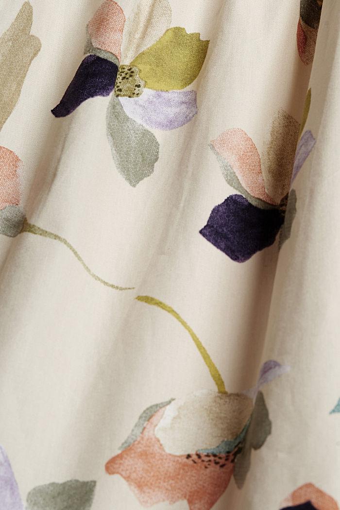Vestido de popelina con estampado de flores, OFF WHITE, detail image number 4