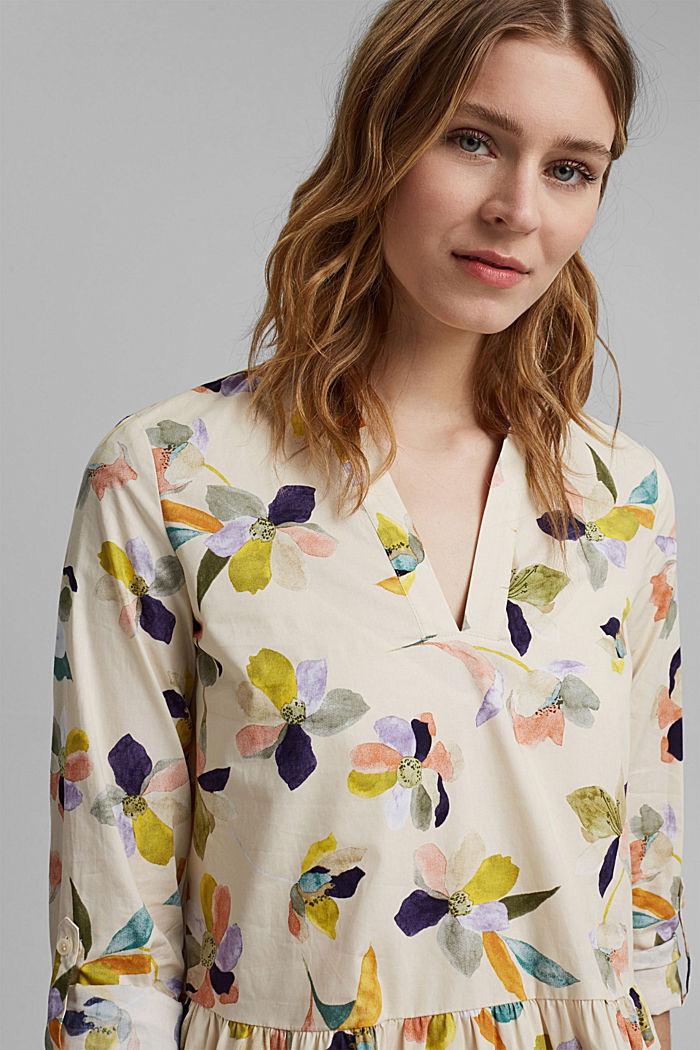 Vestido de popelina con estampado de flores, OFF WHITE, detail image number 5