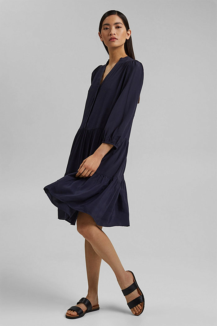 Gestuftes Kleid mit LENZING™ ECOVERO™, NAVY, detail image number 1