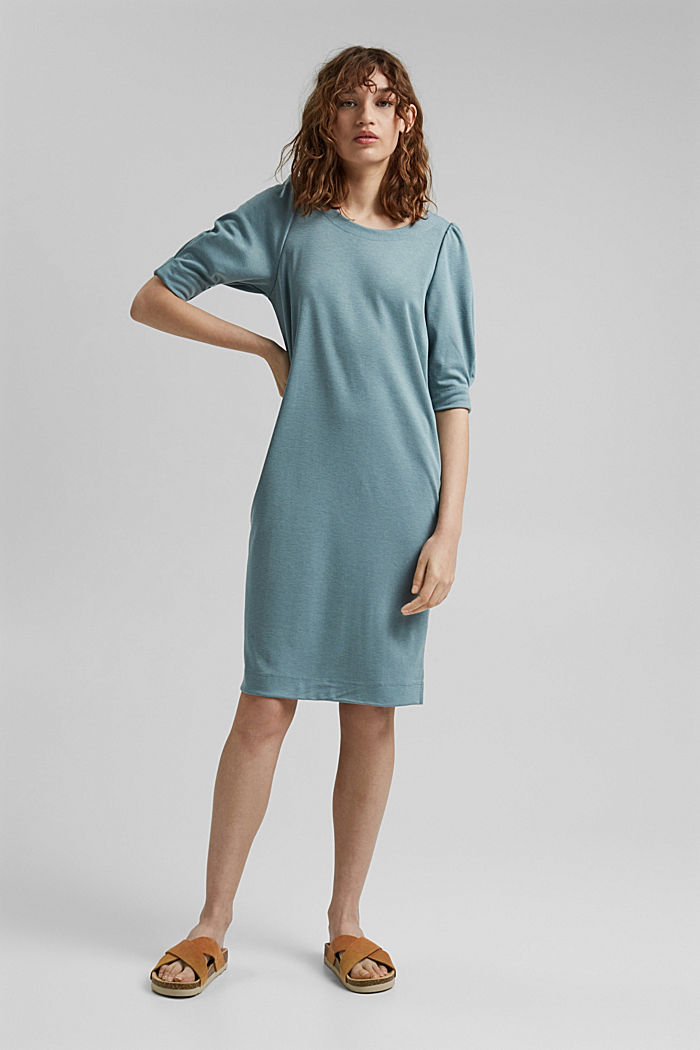 Dress made of punto jersey with LENZING™ ECOVERO™, DARK TURQUOISE, detail image number 1